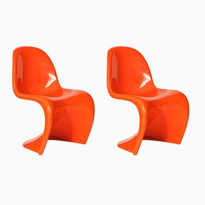 Chaises Orange par Verner Panton pour Herman Miller, 1960s, Set de 2