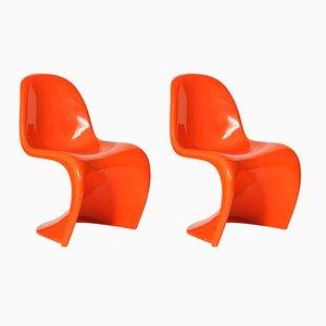Orangefarbene Stühle von Verner Panton für Herman Miller, 1960er, 2er Set