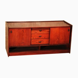 Low Vintage Rosewood Sideboard on Wheels