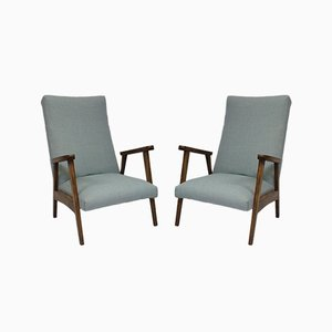 Beech Armchairs, 1950s, Set of 2
