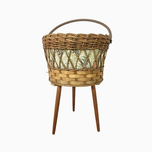 Vintage Rattan Sewing Box, 1950s