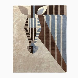 Cozy Biscuit Zebra Carpet in Vegan Tencel & Linen by Josh Brill for Junior Monarch