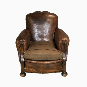 French Leather Armchair, 1920s