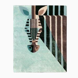 Royal Teal Zebra Teppich aus Seide & Wolle von Josh Brill für Junior Monarch