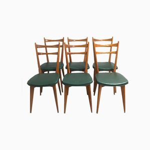 Vintage Chairs on Compass Feet, 1960s, Set of 6