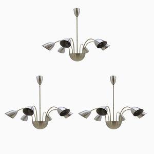 Lámparas de araña de aluminio, años 50. Juego de 3