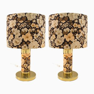 Florale Tischlampen, 1960er, 2er Set
