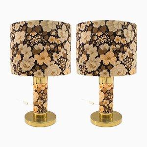 Lámparas de mesa florales, años 60. Juego de 2