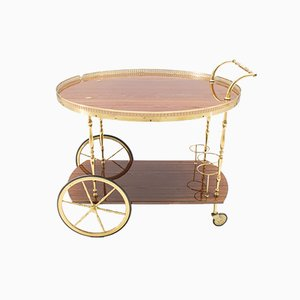 Hollywood Regency Foldable Serving Trolley in Gold & Brown, 1960s