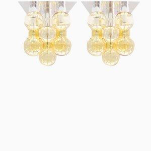 Space Age Deckenlampen aus Sideglas von Doria Leuchten, 1960er, 2er Set