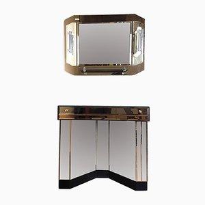 Consolle specchiata e specchio da parete con luce, anni '80