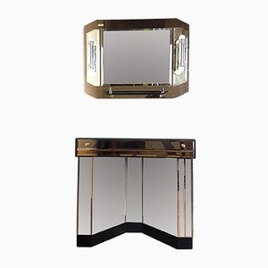 Mirrored Console Table & Illuminated Wall Mirror, 1980s