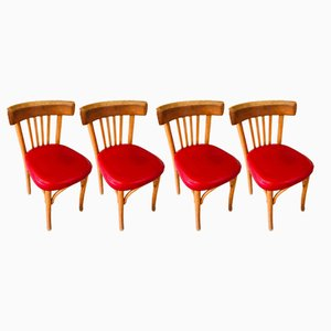 Mid-Century Bistro Chairs in Red Leather, Set of 4