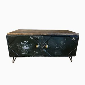 Vintage Stripped Metal Cabinet Coffee Table