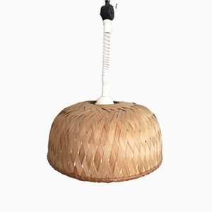 Vintage Bamboo or Palm Leaf Pendant Lamp, 1960s