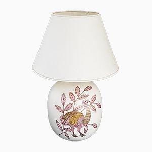 Lámpara de mesa de cerámica con pavo real, años 70