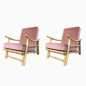 Mid-Century Bamboo Armchairs, Set of 2