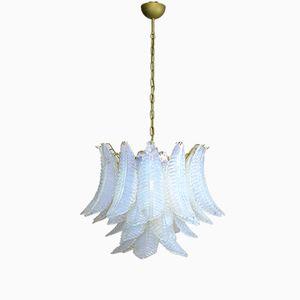 Lámpara de araña italiana de seis pisos de vidrio opalino y cristal de Murano, 1981ç