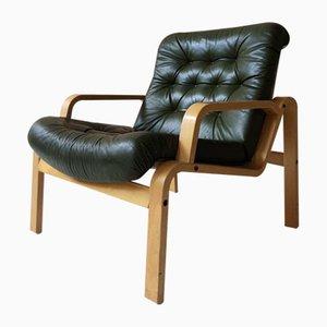 Butaca sueca vintage de madera curvada y cuero