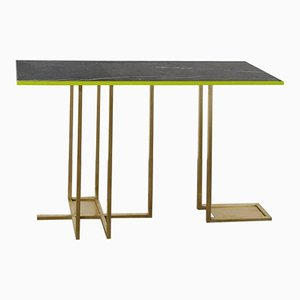 In Line Brass and Marble Console by Rooms