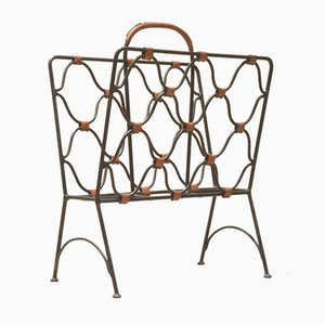 Mid-Century Leather & Iron Magazine Rack by Jacques Adnet