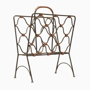 Revistero Mid-Century de cuero y hierro de Jacques Adnet