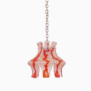 Lámpara colgante italiana de cristal de Murano rojo con cadena cromada de Mazzega, años 70