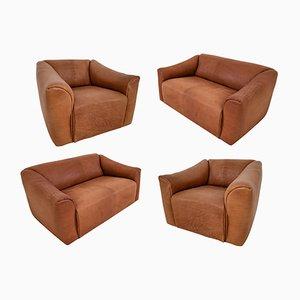 Sedute DS47 in pelle color cognac di de Sede, anni '70, set di 4