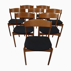 Black Leather & Oak Chairs by Erik Buch for O.D. Mobler, 1960s, Set of 8
