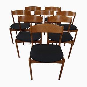 Stühle aus schwarzem Leder & Eiche von Erik Buch für O.D. Mobler, 1960er, 8er Set