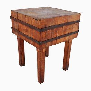 Mesa hecha con bloque de carnicero de madera, años 30