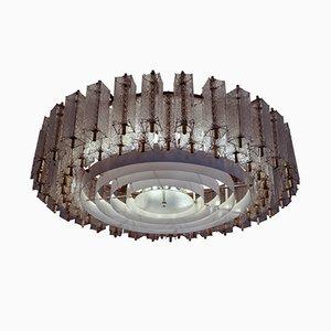 Lampadario Mid-Century in ottone e vetro