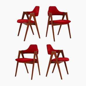 Chaises de Salle à Manger Modèle Compas en Teck par Kai Kristiansen pour SVA, 1960s, Set de 4