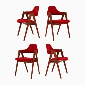 Model Compass Teak Dining Chairs by Kai Kristiansen for SVA, 1960s, Set of 4