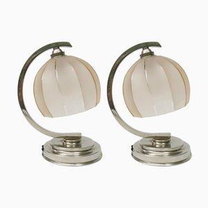 Französische Vintage Art Deco Nachttischlampen, 2er Set