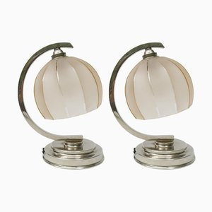Vintage French Art Deco Bedside Table Lamps, Set of 2