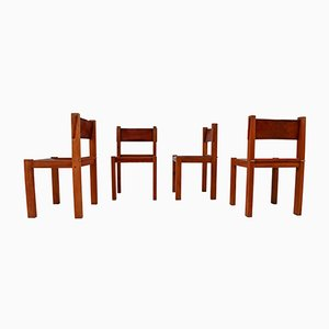 Mid-Century Wood & Leather Dining Chairs, Set of 4
