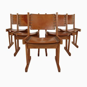 Safari Chairs in Thick Cognac Saddle Leather & Solid Pine, 1970s, Set of 5