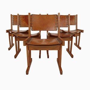 Safari Stühle aus dickem kastanienbraunem Sattelleder & massivem Pinienholz, 1970er, 5er Set