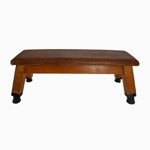 Vintage Patinated Leather Gym Bench or Table, 1960s