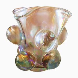 Large Vintage Mother Of Pearl Colored Iridescent Murano Glass Vase, 1980s