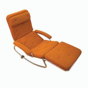 Chaise longue regolabile in metallo tubolare di Banmuller & LAMA, anni '70