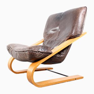 Vintage Leather & Plywood Lounge Chair