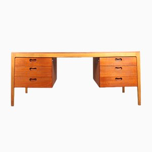 Vintage Oak & Teak Executive Desk from Wilkhahn
