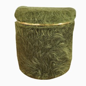 Green Plush Pouf, 1970s