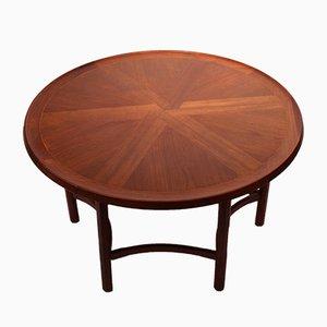 Mesa de centro danesa redonda de teca, años 60