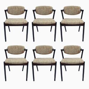 Modell 42 Esszimmerstühle von Kai Kristiansen für Schou Andersen, 1960er, 6er Set