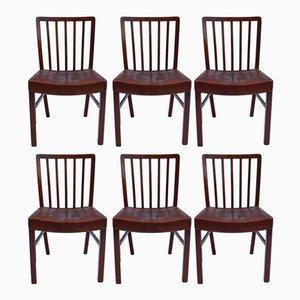 Esszimmerstühle aus hellem Mahagoni für Fritz Hansen, 1940er, 6er Set