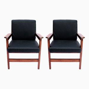Dänischer Sessel aus poliertem Holz & schwarzem Leder, 1960er, 2er Set