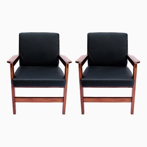 Danish Lounge Chairs in Polished Wood & Black Leather, 1960s, Set of 2